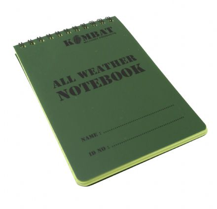 Kombat UK A6 Waterproof Notepad Green